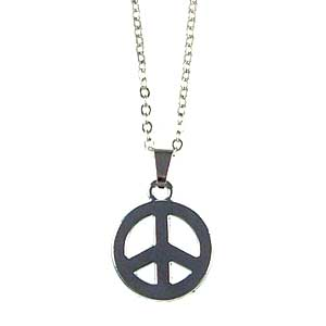 18 inch Peace sign  necklace 1 set