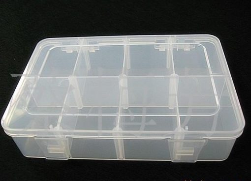 Removable mesh transparent acrylic storage box, jewelry display box 2*4 grid. 18.5*12.5 cm