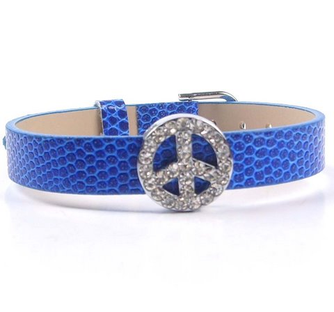 10mm peace sign sliding accessory for 10mm stainless steel straps and belts. No strap