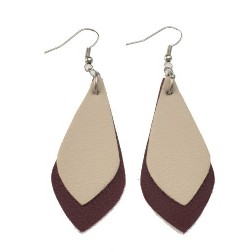 Fashion hit color leather earrings Lightweight and comfortable Stainless steel earrings hook 5*2.3