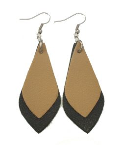 Fashion hit color leather earrings Lightweight and comfortable Stainless steel earrings hook 7*3.2