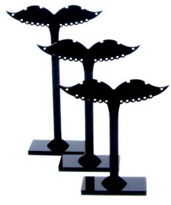 Black acrylic earrings display stand large, medium and small 3 sets / bag
