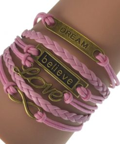 Popular braided rope bracelet Alloy accessories Multi-color optional 7+2 inch