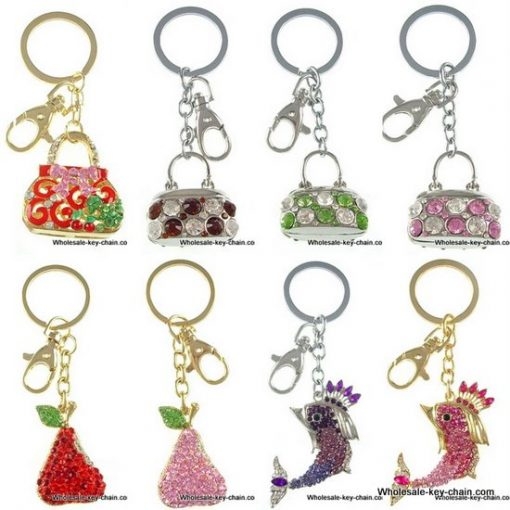 Diverse rhinestone key chain mixed with 10 PCS/bag