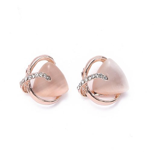 Fashion love cat's eye necklace earrings two-piece Korean version of the bride's set of jewelry wholesale yhy-031