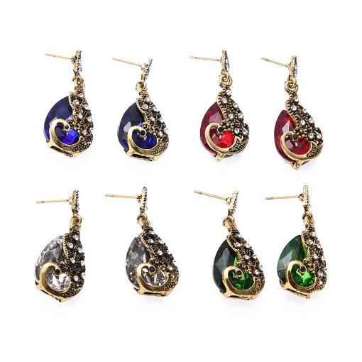 Hot Swan Necklace Earrings Jewelry Set Alloy Diamond Gemstone Animal Necklace Set YHY-034