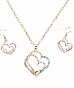 Fashion Jewelry Set Wedding Dinner Wedding Accessories Double Love Peach Heart Earrings Necklace Set YWHY-022