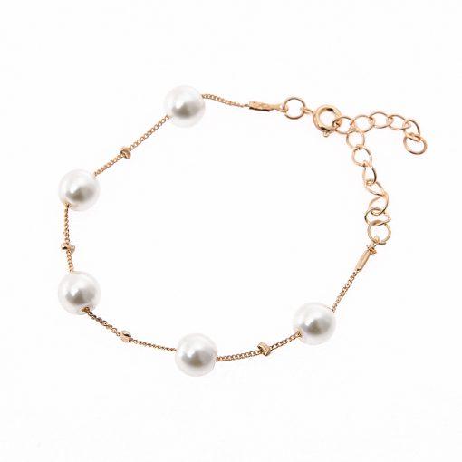 Korean fashion jewelry set Sweet elegant pearl simple temperament necklace earrings bracelet YHY-032