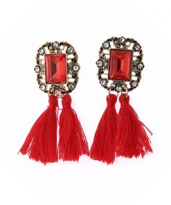 Big brand square drill tassel earrings imitation gemstone tassel earrings yhy-051