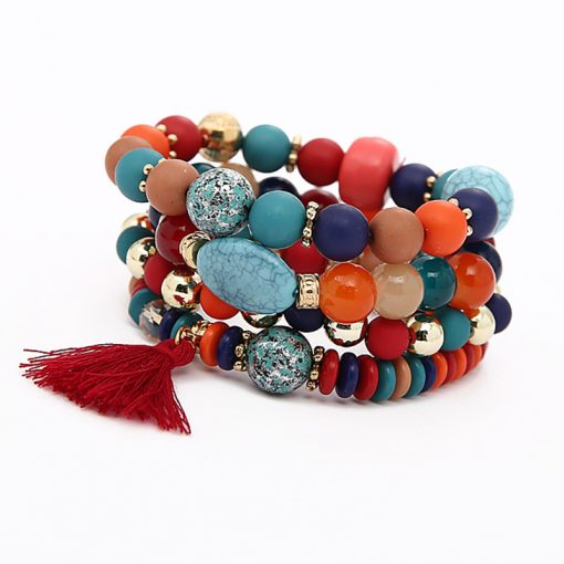 Fashion small fresh jewelry wholesale Beaded tassel bracelet Beaded multi-layer stretch handmade jewelry direct yhy-076
