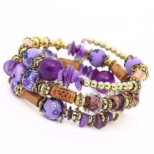 Vintage ethnic style wild multi-layer bracelet handmade beaded stone winding bracelet bracelet yhy-075