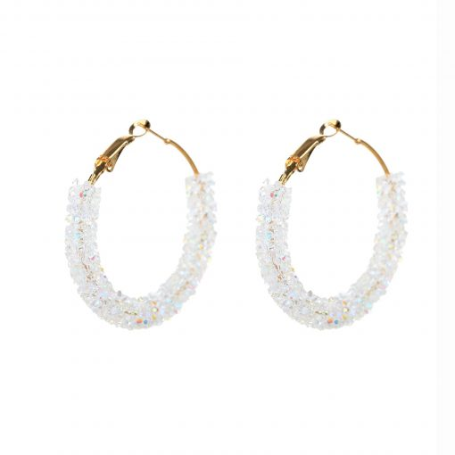 Fashion simple personality retro exaggerated earrings circle handmade beaded crystal earrings  YHY-052