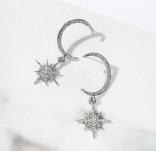 Korea temperament wild super fairy zircon diamond moon sun earrings long pendant earrings star month earrings girl YWHY-015