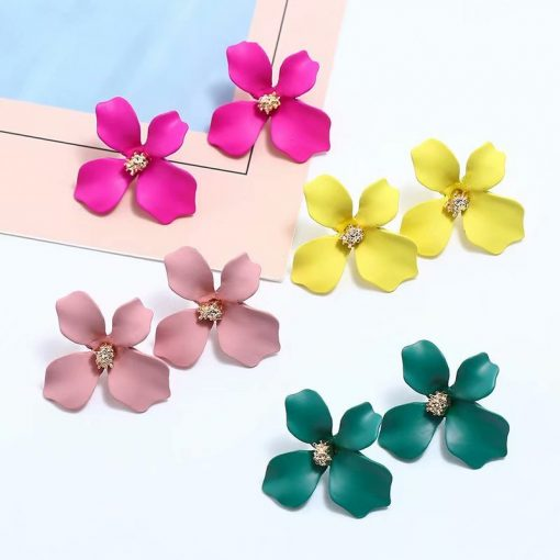 Korea sweet fresh and simple paint flower earrings personality fashion wild irregular petal earrings earrings female YWHY-003