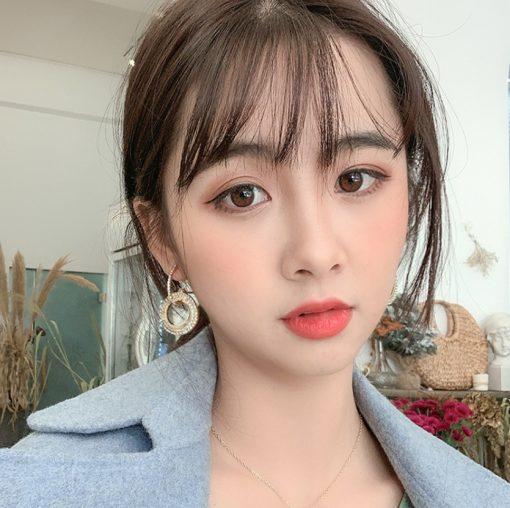 Hot rhinestone earrings Fashion creative long earrings women temperament diamond geometric circle earrings YWHY-016