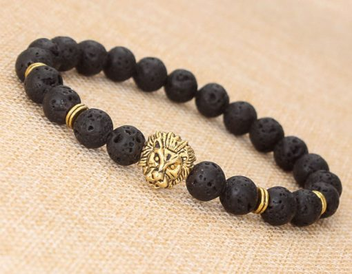New hot fashion jewelry lava volcanic stone lion head bracelet YHY-099