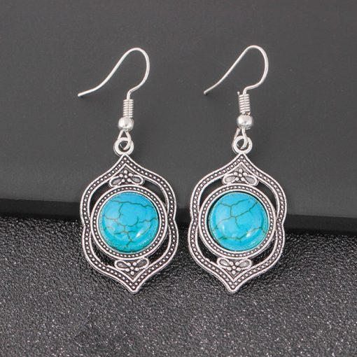 Vintage Jewelry Turquoise National Wind Earrings Necklace Bracelet Jewelry Three-Piece Set  yhy-030