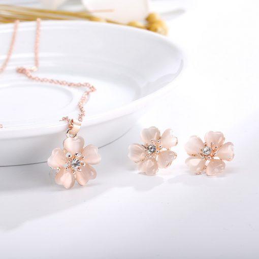 New Simple Alloy Opal Diamond Flower Earrings Necklace Set YWHY-017