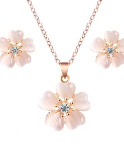 New Simple Alloy Opal Diamond Flower Earrings Necklace Set YWHY-017