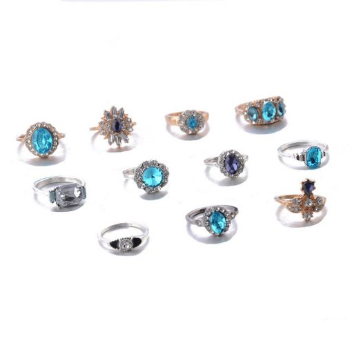 Temperament gold and silver two-color set ring sapphire purple gemstone retro style 11-piece gemstone ring set YWHY-008