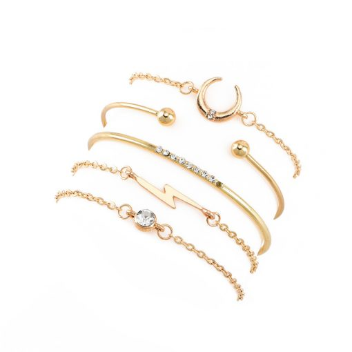 Popular set bracelet female new fashion personality moon lightning full diamond  bracelet combination jewelry YWHY-005