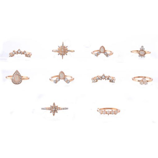 New imitation opal style ring diamond crown combination joint ring 10 piece set ring ring YWHY-014