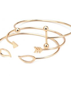 New Products Arrows Openwork Leaves Open Bracelet 3 Piece Alloy Bracelet YWhy-006