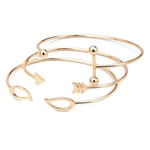 New Products Arrows Openwork Leaves Open Bracelet 3 Piece Alloy Bracelet YWhy-006