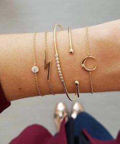 Popular set bracelet female new fashion personality moon lightning full diamond  bracelet combination jewelry YWHY-005