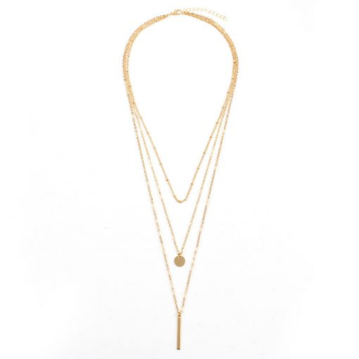 Hot new copper bead chain sequins metal strip multi-layer short necklace YWHY-010
