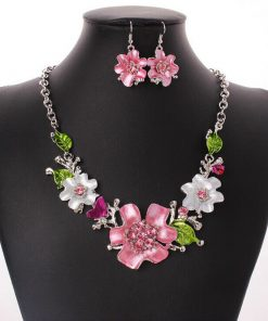 European and American fashion sweet matching necklace earrings temperament wild flower rhinestone necklace set ornament YWhy-002