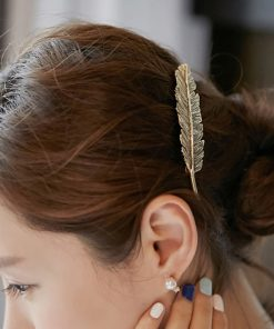 Exaggerated big brand alloy feather hairpin alloy spring side clip ponytail clip hairpin hair accessories wholesale YWHY-011