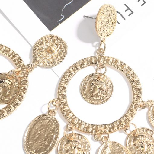 European and American style new alloy earrings show catwalk Baroque Mississippi style head coin circle ring earrings YHY-068