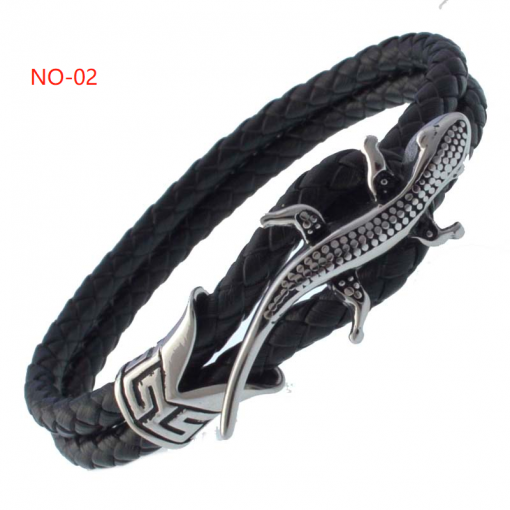 Personalized stainless steel leather bracelet 8-9 inches, size cus tomizable bracelet
