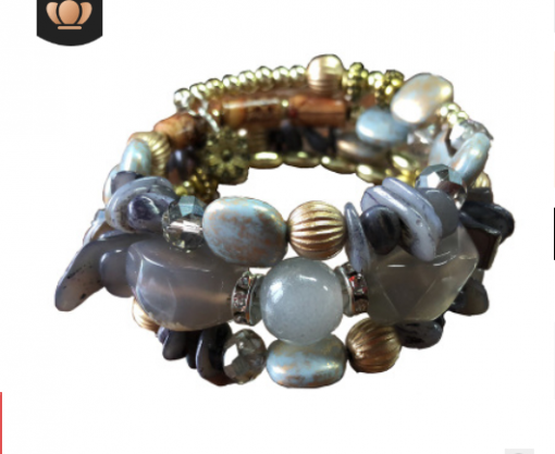 European and American bracelets retro imitation natural stone pine agate beaded multi-layer winding bracelet bracelet YHY-070