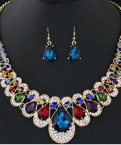 Fashion Metallic Diamond Rhinestone Gemstone Collar Necklace Earrings Color Diamond Two-piece set of water drops YWHY-018