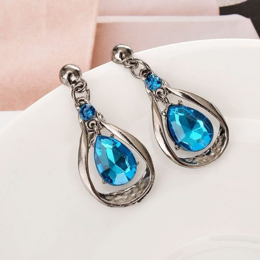 Factory direct wild crystal drop gemstone necklace clavicle chain sweater chain earrings set YWHY-019