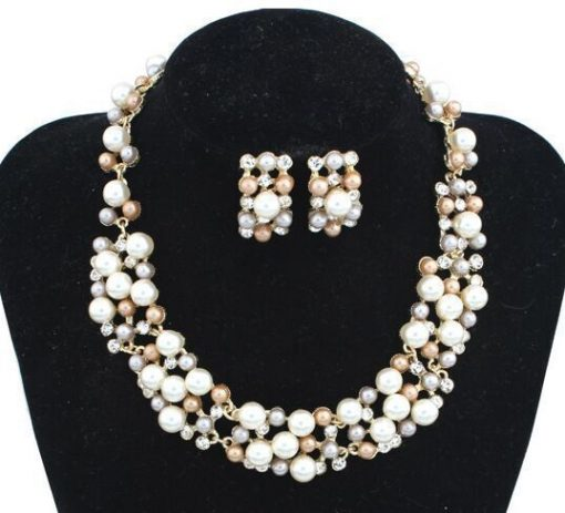 Hot-selling imitation pearl necklace set Bridal jewelry Jewelry set wholesale YWHU-024