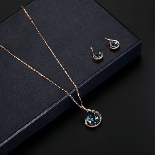 Hot sale gourd necklace earrings set Europe and foreign trade full diamond crystal necklace earrings YHY-027