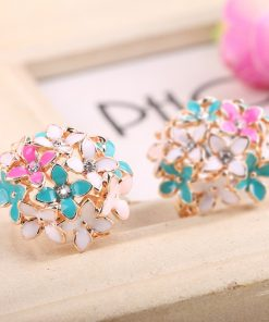 Korean fashion flower earrings Sweet two-color colorful earrings Diamond-studded color oil Stud ear clip wholesale YHY-037