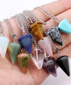 Natural crystal stone pendant necklace hexagonal cone tapered crystal ornaments.  YHY-102