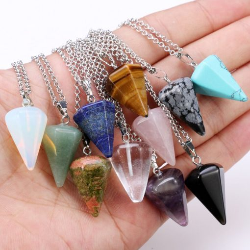 Natural crystal stone pendant necklace hexagonal cone tapered crystal ornaments. Mixed color YHY-102