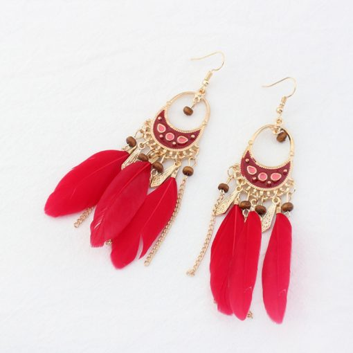 European and American color long earrings retro national wind feather tassel earrings jewelry wholesale YHY-066