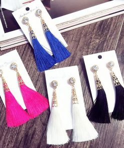 Fashion contrast tassel earrings long bohemian painting oil feather earrings handmade jewelry yhy-059