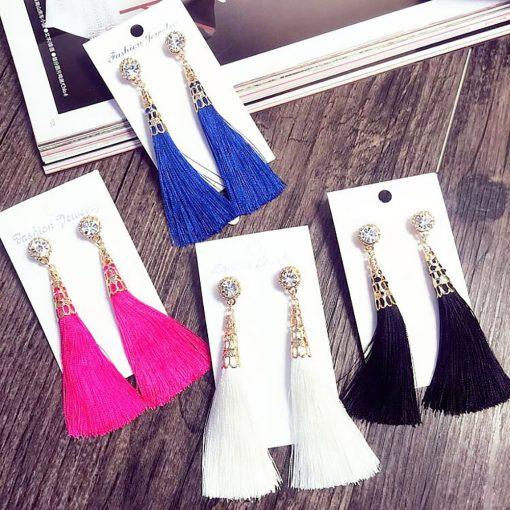 Fashion contrast tassel earrings long bohemian painting oil feather earrings handmade jewelry yhy-059