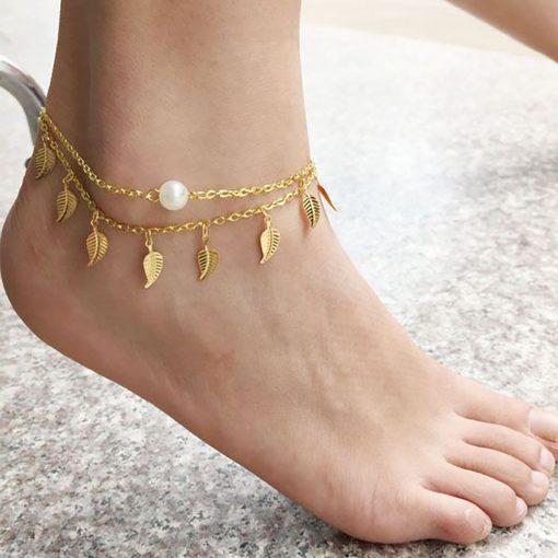 Multi-layer anklet ladies wild tassel layered leaves pearl anklet wholesale YHY-090