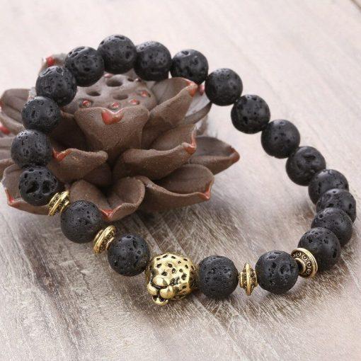 Hot-selling alloy leopard head energy stone volcanic rock elastic bracelet YHY-100