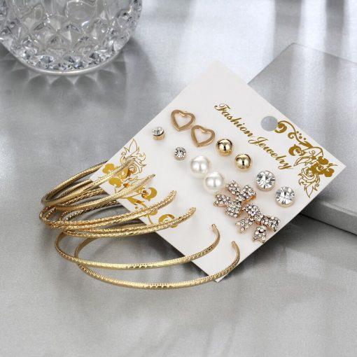 Explosion earrings earrings set Bow love big circle personality earrings set 9 pairs of set earrings YHY–057