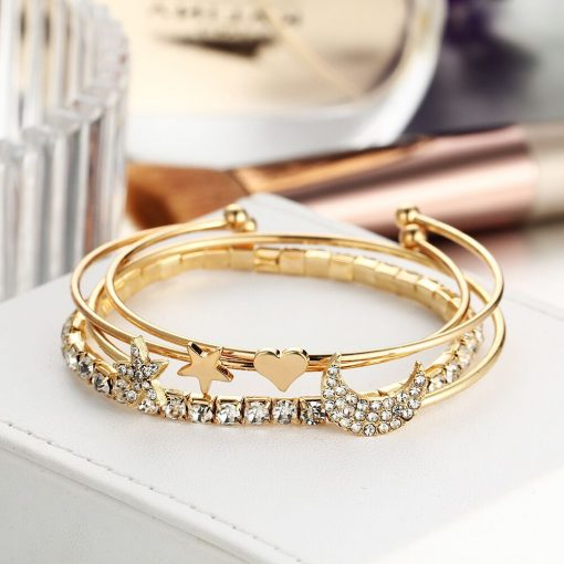 Europe and the United States hot bracelet with diamonds stars moon open bracelet four-piece bracelet set YHY-092