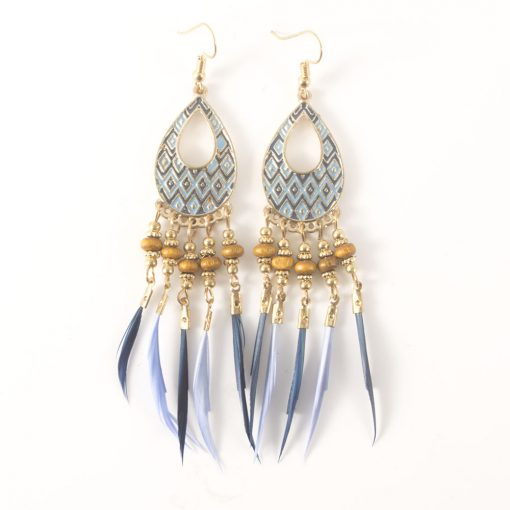 European and American retro ethnic tassel earrings feathers  long earrings alloy color oil jewelry wholesale YHY-064